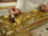 Cadre - Pose de la feuille d'or