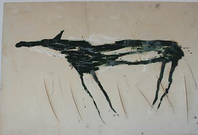 Avant restauration - peinture contemporaine sur toile de coton