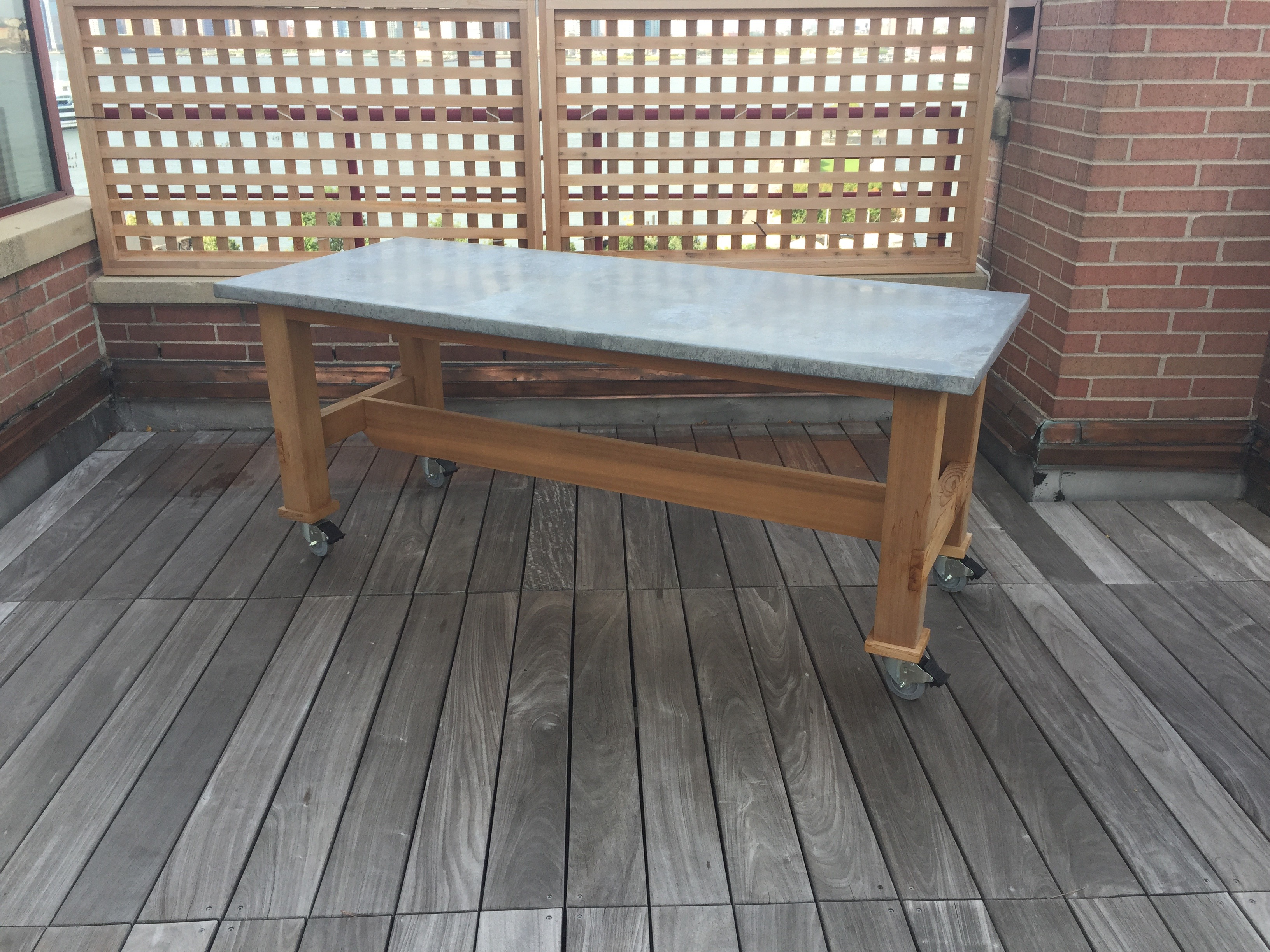 zinc, clear cedar patio table