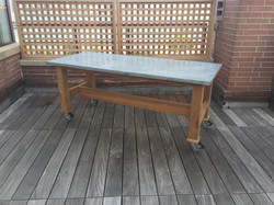 zinc, clear cedar patio table