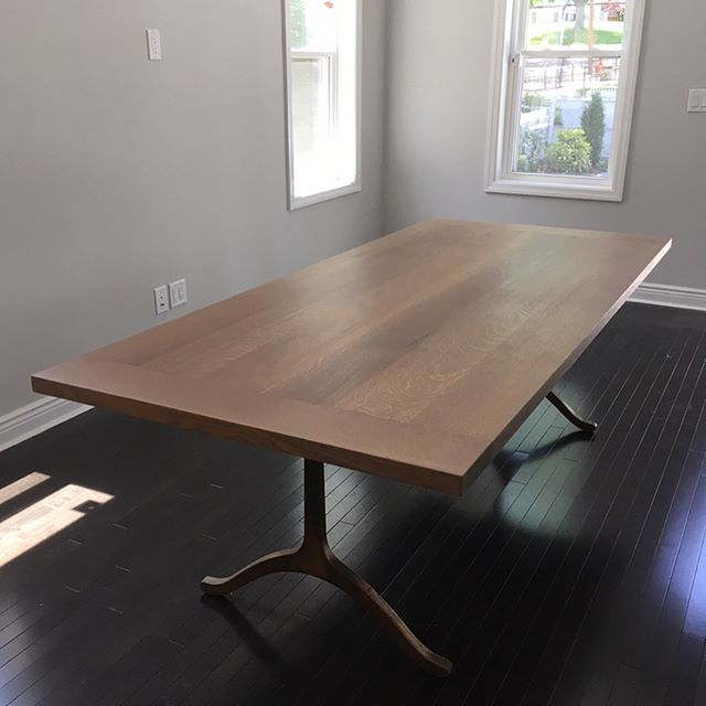 whit oak dining table, iron legs