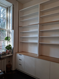 library, white and oak