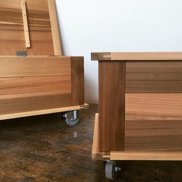 clear cedar storage benches
