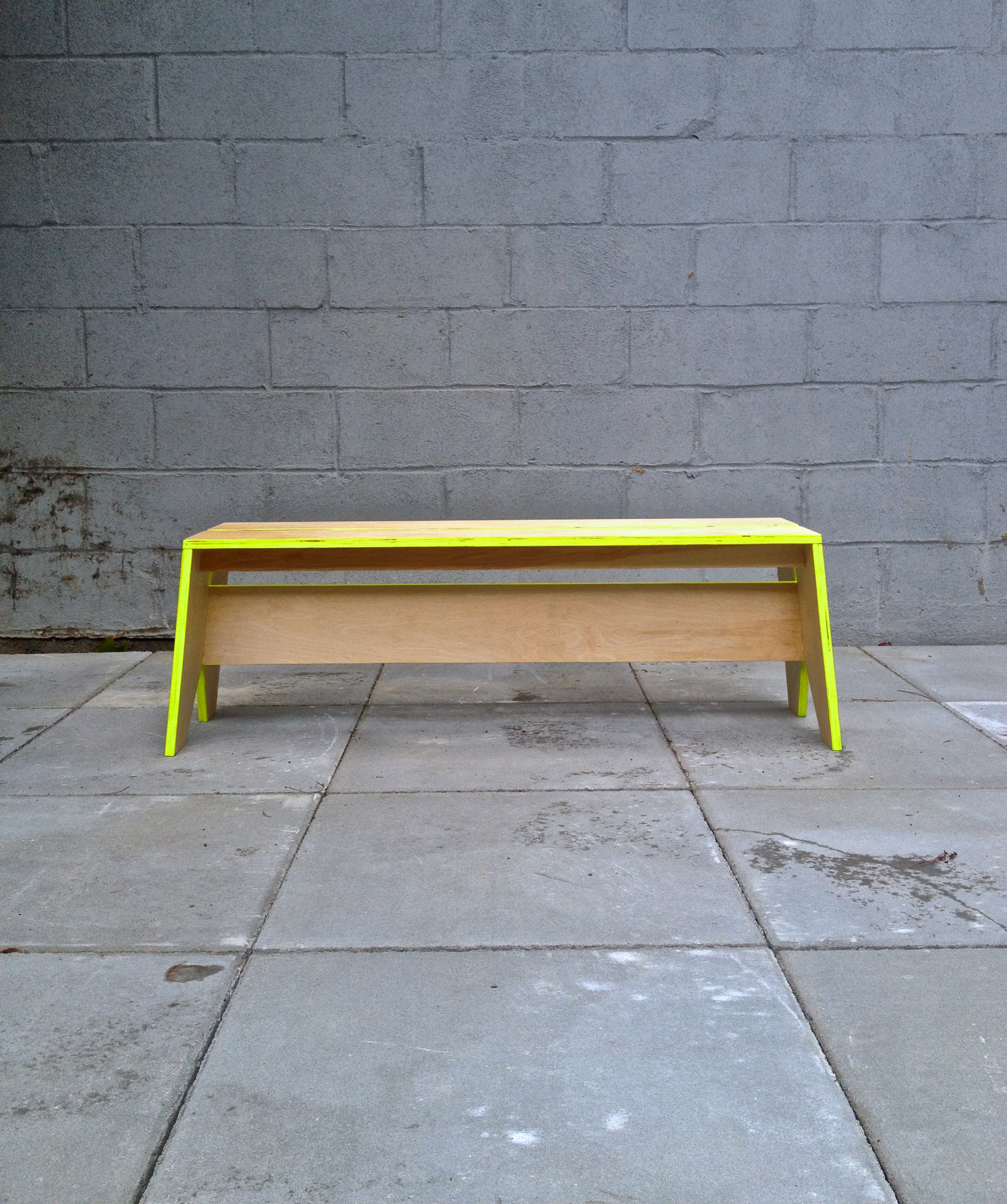 birch ply, neon acrylic bench
