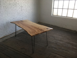 live edge maple, steel dining table