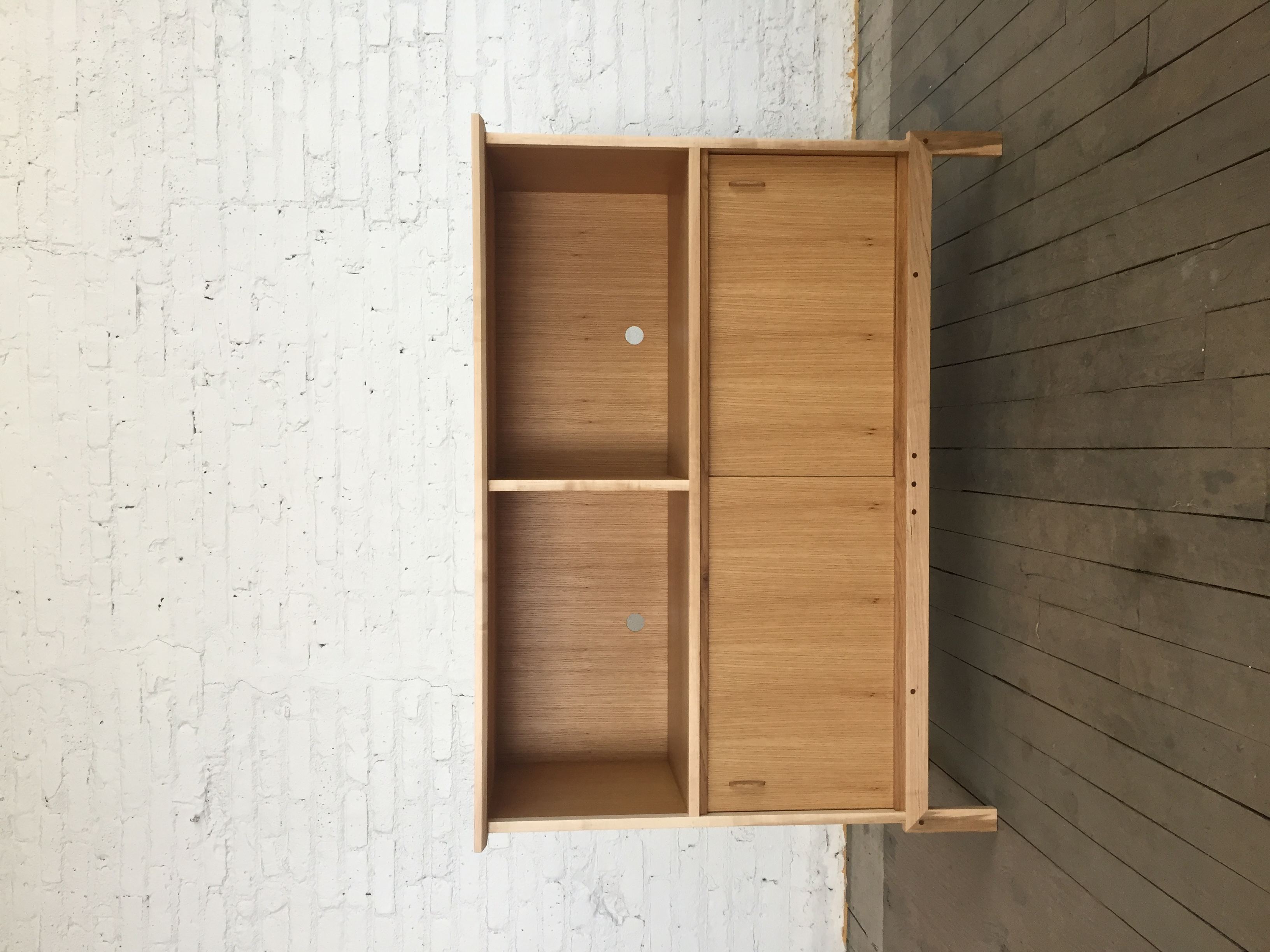 white oak, maple media cabinet