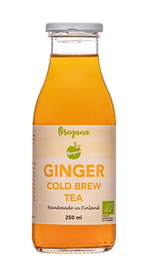Oregana Ginger vihreä tee ja inkivääri jäätee lasipullossa.