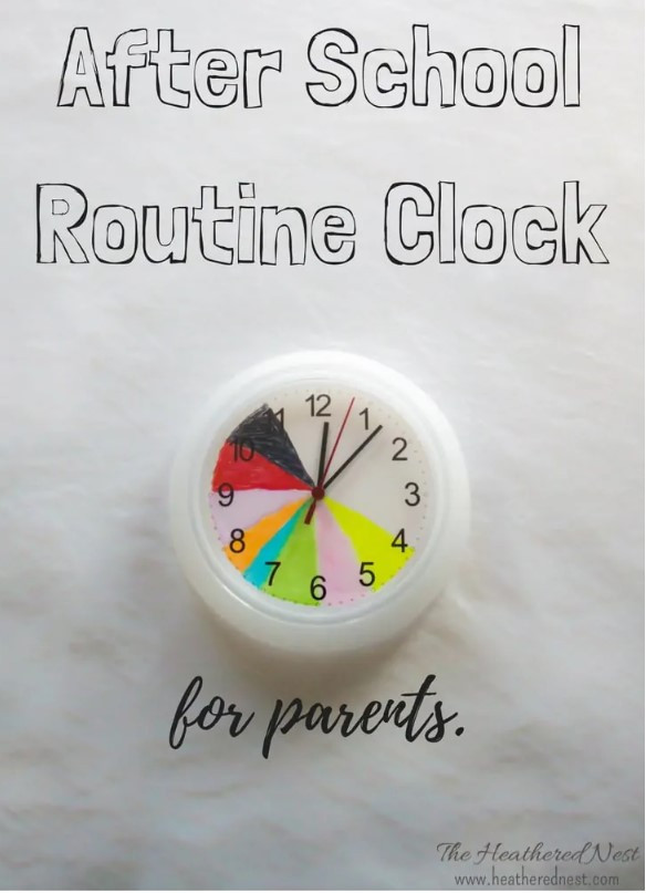 White clock with colors representing the routines like time to do homework, time to play or bed time