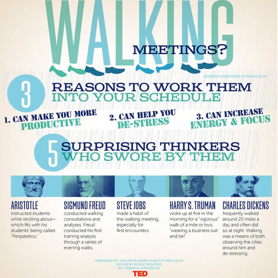 Pinterest picture showing 3 reasons to walk during meeting and 5 thinkers who swore by them