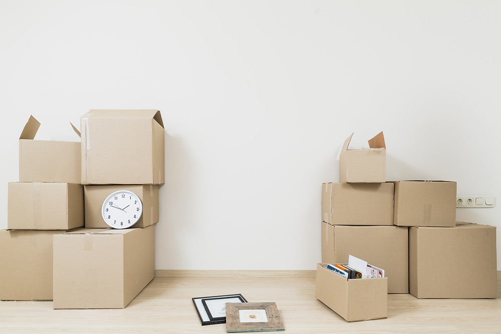 A clock on some boxes