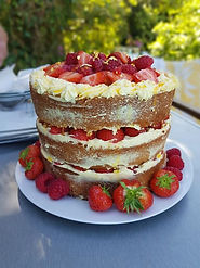 fresh strawberry and passionfruit cake