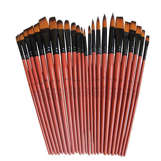 6 Pcs Brown Acrylic Oil Watercolour Artist Paint Brushes Set  - Nylon Hair