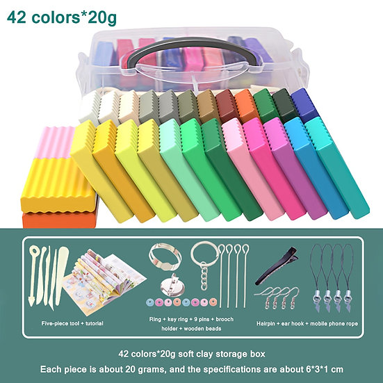 12 / 42 Colours Craft Toy Soft Oven Bake Polymer Clay and Storage Box
