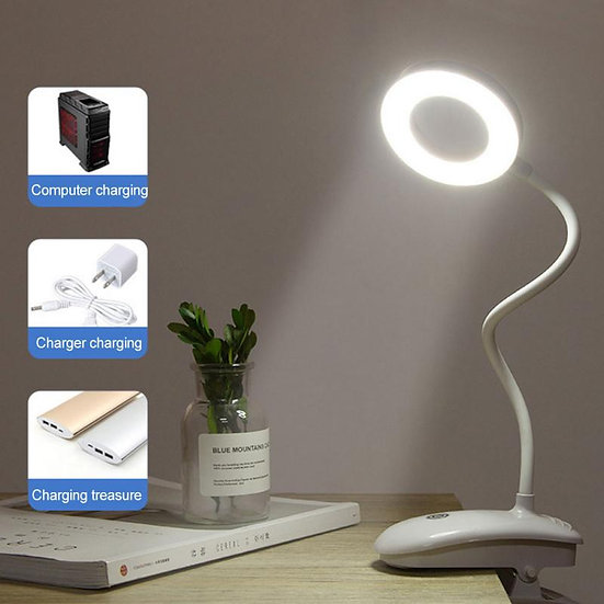 8W LED USB Charging Clip Table Light Third Gear Dimming Desk Lamp Smart Clamp