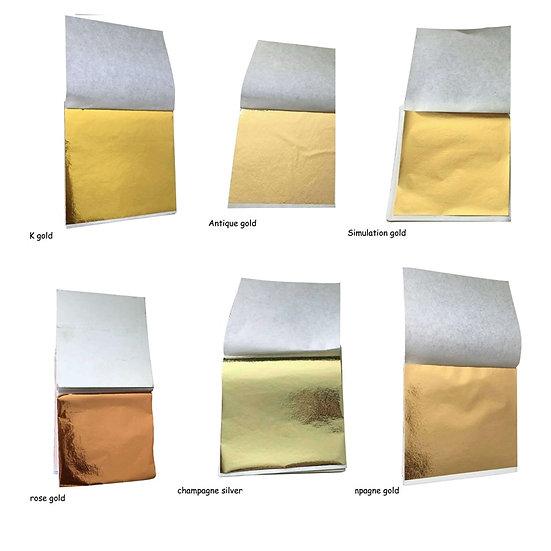 100 Pcs 8.5x9cm Art Craft Imitation Gold Sliver Copper Foil Papers