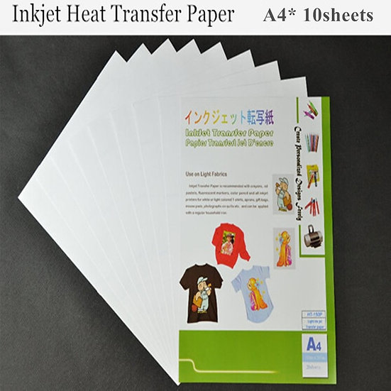 t A4*10pcs Inkjet Heat Transfer Printing Paper Light Colour Fabric for Cotton