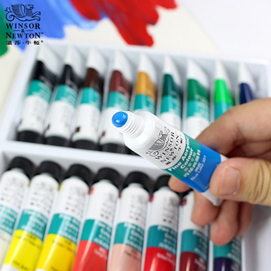 WINSOR & NEWTON 10ML 12 / 18 /24 Colours Acrylic Pigment Set Fabric Textile