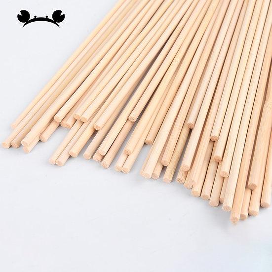 50pcs 30cm Long 3mm-5mm Wooden Round Dowel Rods Pole Stick