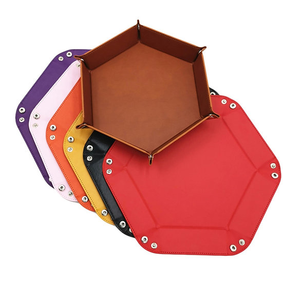 8 Colours PU Leather Folding Hexagon Dice Tray - RPG DnD Games Dice Storage Case