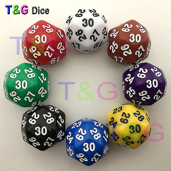 30 Sided Dice 8 Colours available - Price each