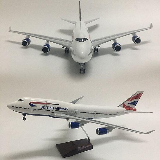 1:160 Scale JASON TUTU 46cm British Airways Boeing B747 Airplane Model