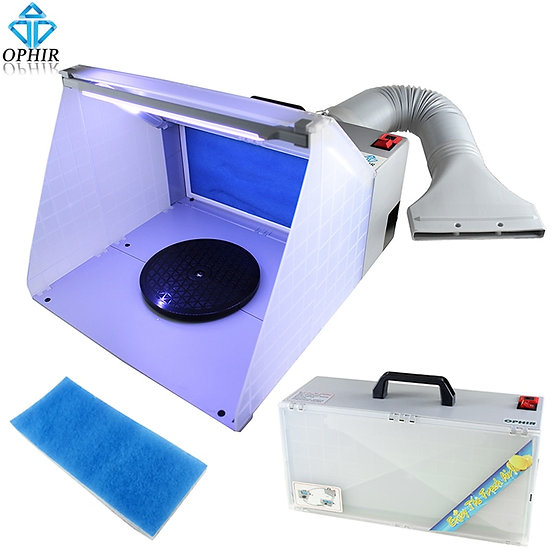 25W LED Light Airbrush Spray Booth Exhaust Filter Set for Hobby Workbench