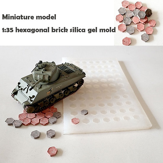 1:35 Scale - Brick Mould Simulated Hexagonal Bricks, Paving