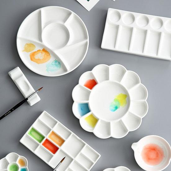 Ceramic Palette Mixing Paint for Watercolor Gouache Acrylic Painting Art Supplie