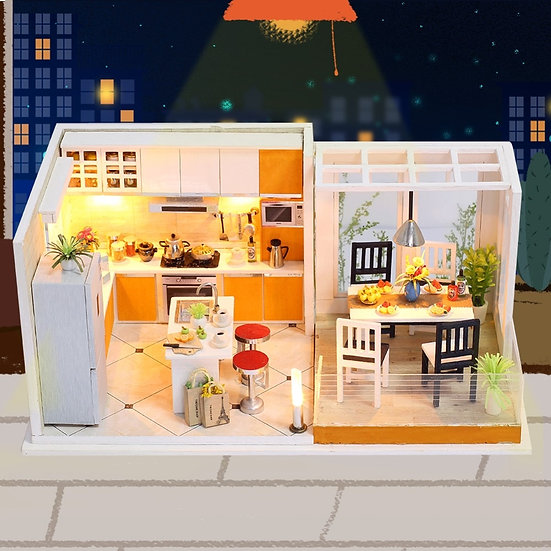 1:160 Scale - CREATE Dollhouse K032 Miniature DIY Kit With Lights and Dust Cover