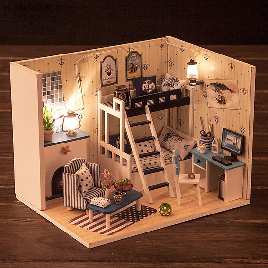 1:160 Scale- iiE CREATE Dollhouse Dark Blue Dream Mini DIY Kit -Lights and Cover