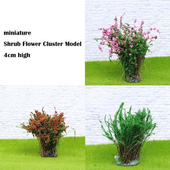 Miniature  Shrub Flower Cluster Model  4cm High - Materials  DIY 6pcs/Bag