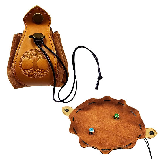 Portable Genuine Leather Drawstring Pouch Dice Bag Tray DND D&D RPG