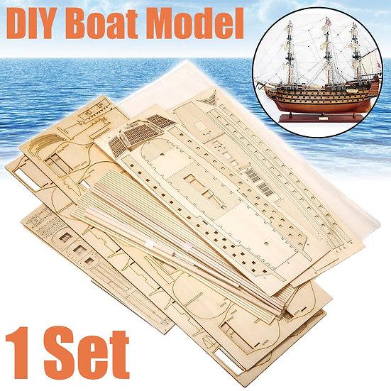 1 Set DIY Handmade Assembly Ship Wooden Sailing Boat Model Kit Ship
