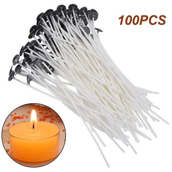 100Pcs Cotton Candle Wicks Smokeless - Various Lengths