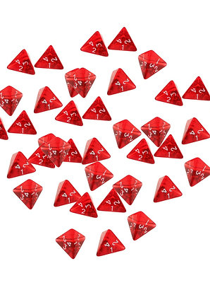 40 Pieces 4 Sided Dice D4 for Gamers Red Acrylic Polyhedral Dices