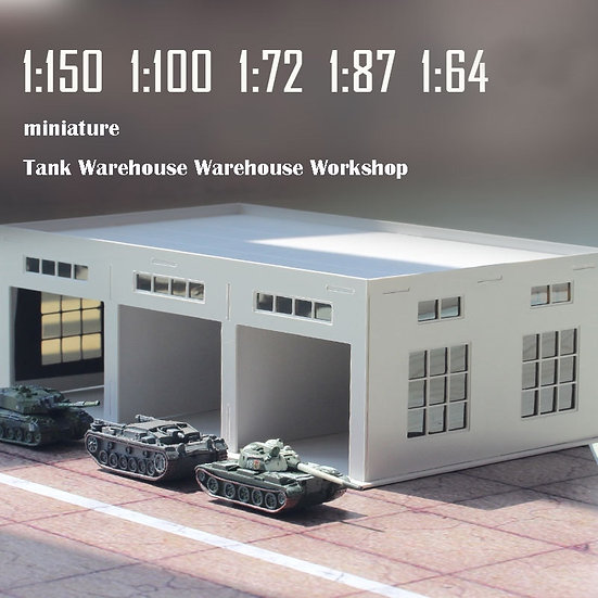Scales 1:150/100/87/72/64 Miniature Tank Warehouse Workshop  Plastic Assembly