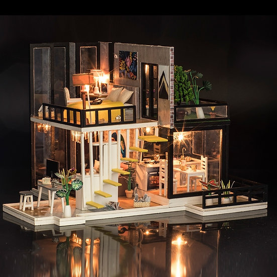 1:160 Scale - iiE CREATE Dollhouse K033 September Forest DIY Kit With Lights