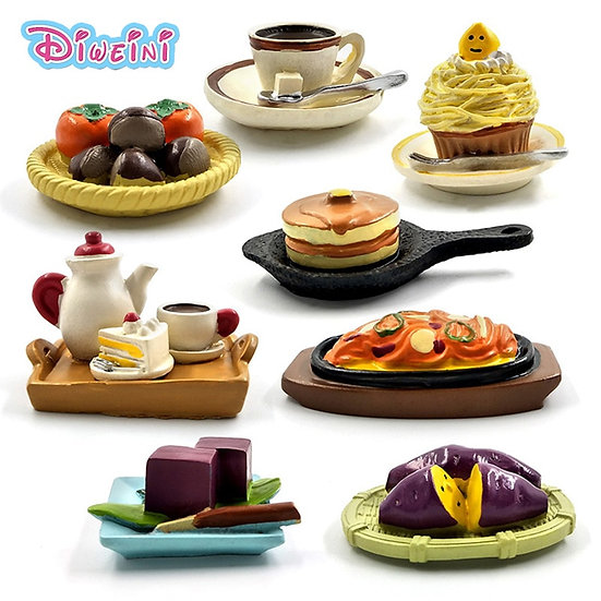 1/12 Scale  Miniature Figurine - Food items -  Coffee Cake Figures Food Dessert
