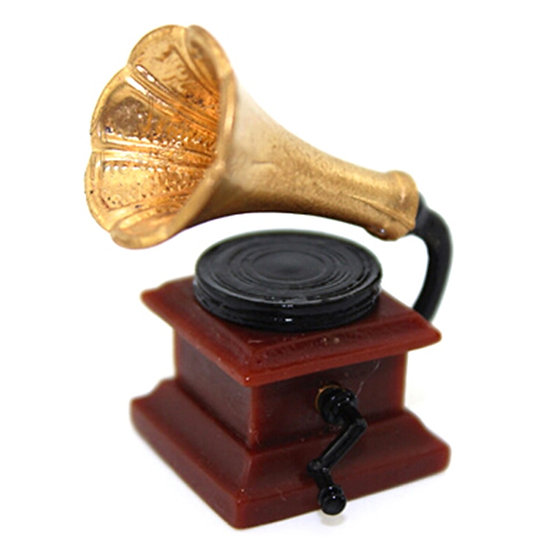 1:12 Scale Miniature Retro Gramophone With Record for Doll House