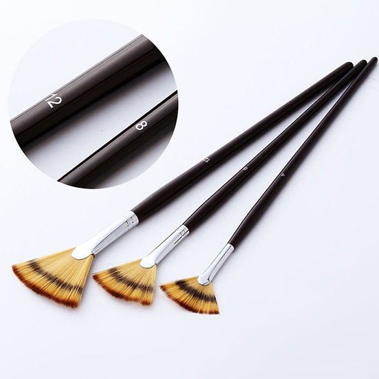 3Pcs Fan Shaped Watercolor Paint Brush Set Mixed Hair Copper Tube Brushes