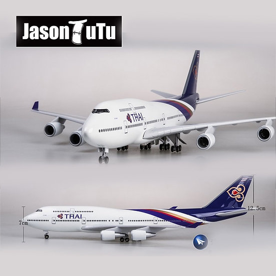 1:160 Scale JASON TUTU 47cm HAI Boeing B747 Airplane Model With Light & Wheel