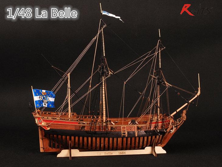 1/48 Scale - La Belle 1682 - Wooden Ship Model Kit 3d Laser Cut Full Ribs Model