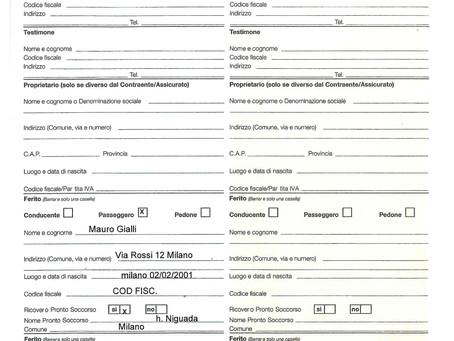 Compilazione della Constatazione amichevole (CAI)