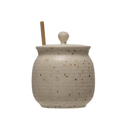 Natural Stoneware Honey Jar