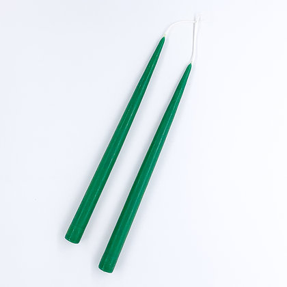 Danica Tapered Candles Pair  - Forest Green