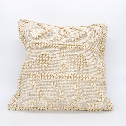 Natural Embroidered Wool Pillow