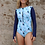 Shy Skin Merewether UPF 50+ Long Sleeve Swimsuit in Waterbird