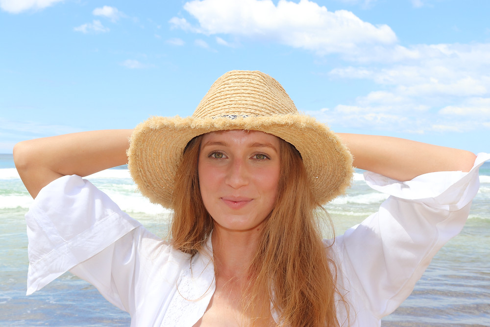 Shy Skin Loretta beach cover-up and Raffia Panama Hat
