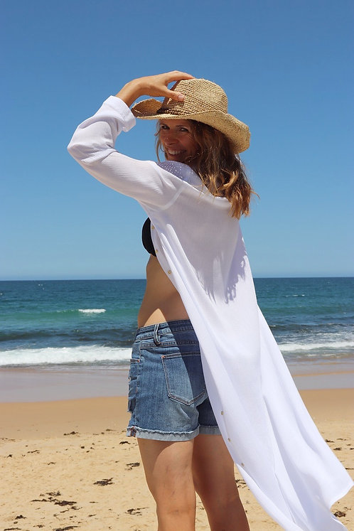 Shy Skin Loretta White Beach Coverup made in Australia
