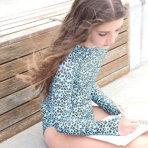 Blueys Girls Long Sleeve Swimsuit in Feline